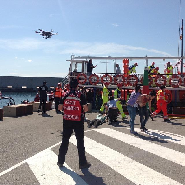 dron na pobřeží