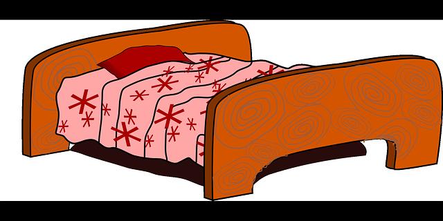 Kresba staré dřevěné postele