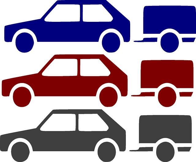 piktogram – tři auta s vozíkem